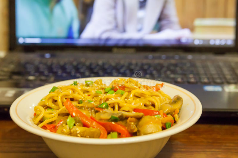 Asian noodles with vegetables stock image