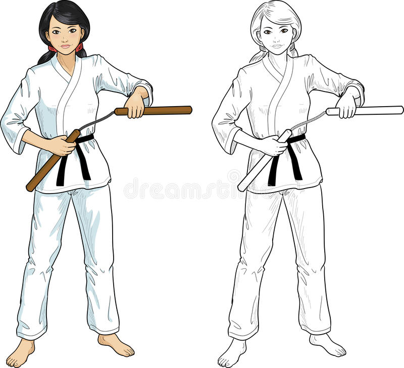 Asian Nunchuck girl in karategi. Young healthy Asian girl armed with nunchuck in karategi vector illustration colored and lineart stock illustration