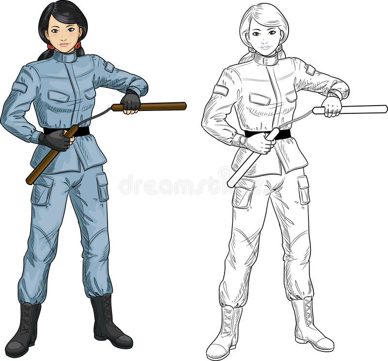 Asian Nunchuck girl in military uniform. Young healthy Asian girl armed with nunchuck in military uniform vector illustration colored and lineart stock illustration