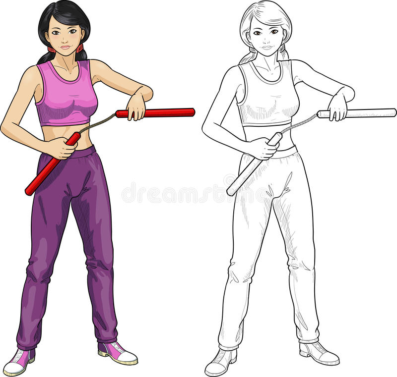 Asian Nunchuck girl in sport uniform. Young healthy Asian girl armed with nunchuck in sport uniform vector illustration colored and lineart vector illustration