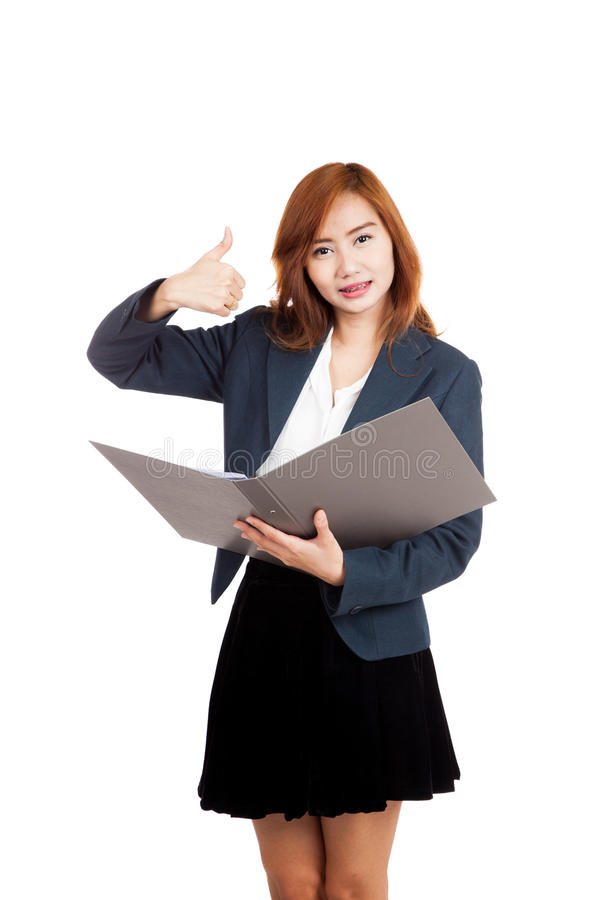 Asian office girl show thumbs up with a folder royalty free stock image