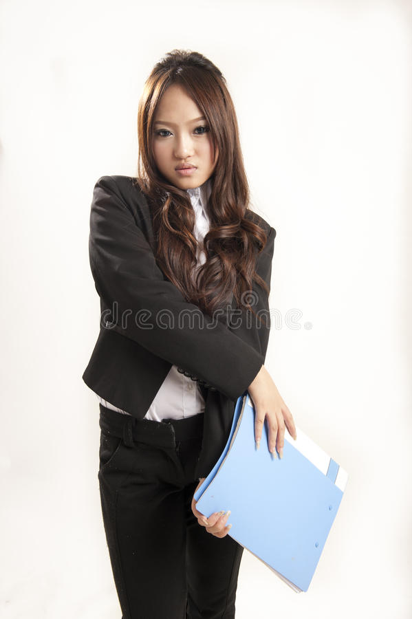 Free Asian Office Lady In Black Suit Folder In Hand Royalty Free Stock Photos - 16036728