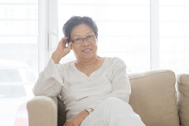 Asian old woman portrait stock images