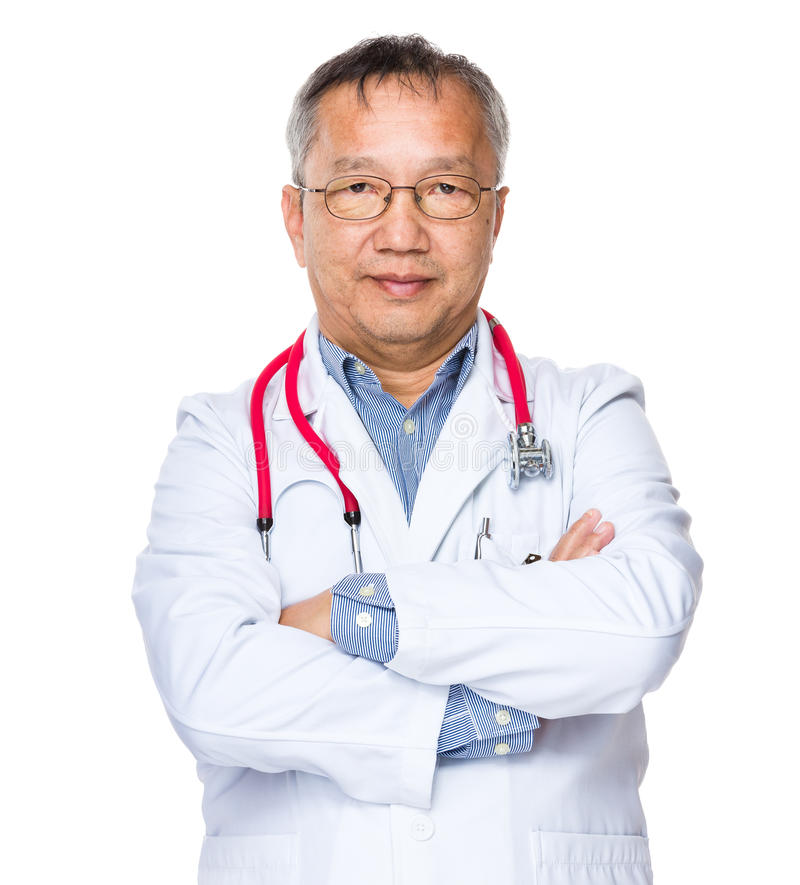 Asian older doctor man. Isolated on white background royalty free stock images