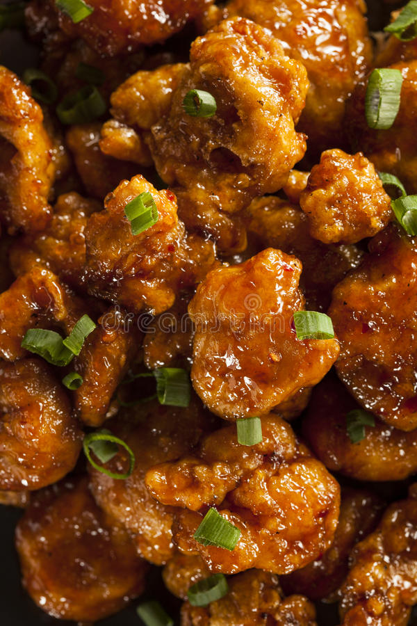 Asian Oranage Chicken with Green Onions. For Dinner royalty free stock image