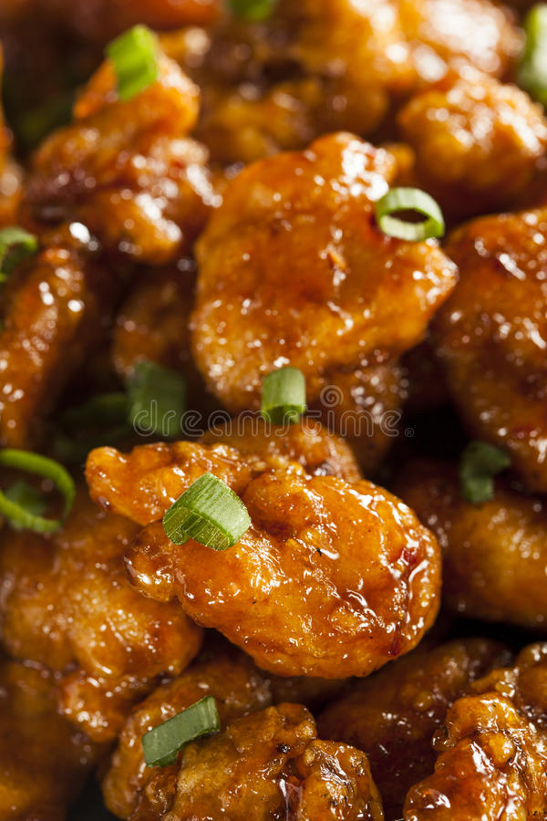 Asian Oranage Chicken with Green Onions. For Dinner stock image