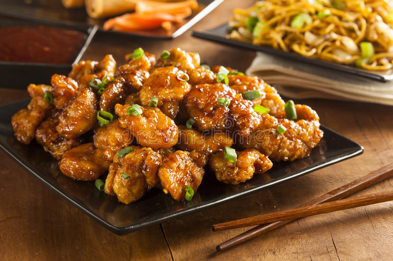 Asian Orange Chicken with Green Onions royalty free stock image