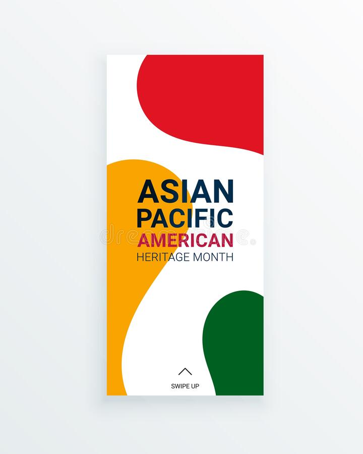 Free Asian Pacific American Heritage Month Vector Flyer Template With Red, Yellow And Green Staines On White Background. Royalty Free Stock Photos - 176774978