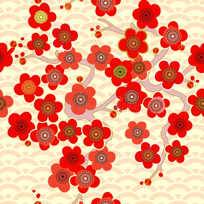 Asian pattern. Japanese, Chinese. Cherry blossom. Ornament. with oriental motifs. Vector. Japanese pattern. Cherry blossom. Ornament. with oriental motifs royalty free stock photography