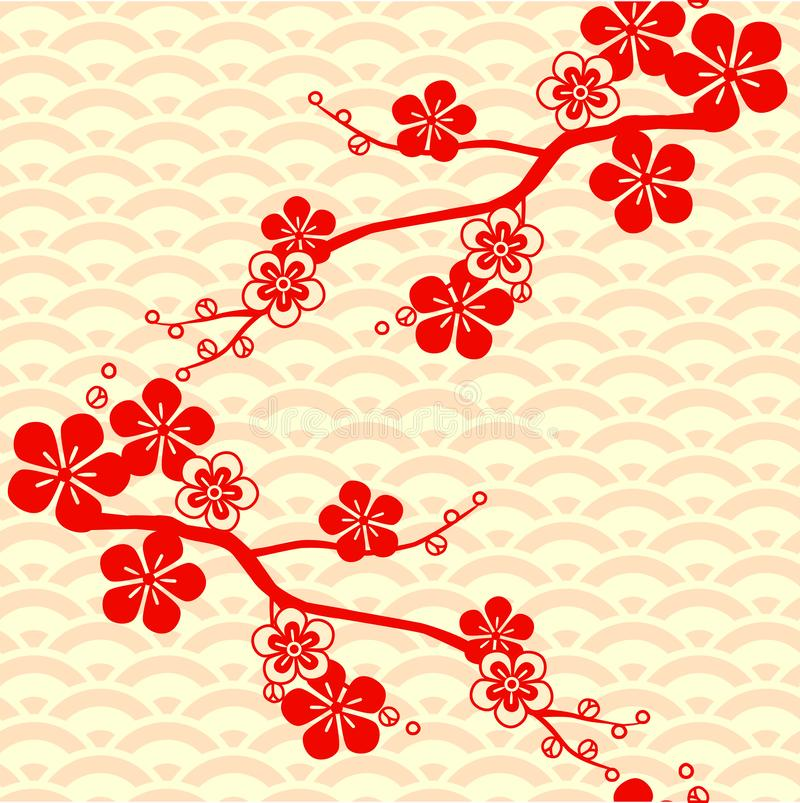 Asian pattern. Japanese, Chinese. Cherry blossom. Ornament. with oriental motifs. Vector. Japanese pattern. Cherry blossom. Ornament. with oriental motifs stock image
