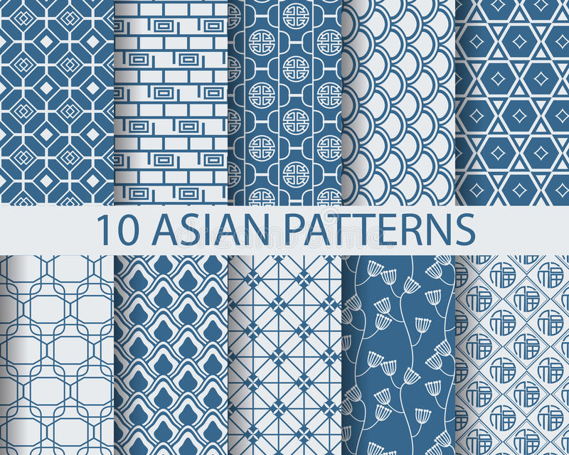 Asian patterns. 10 different chinese asian traditional seamless patterns, Swatches, vector, Endless texture can be used for wallpaper, pattern fills, web page stock illustration