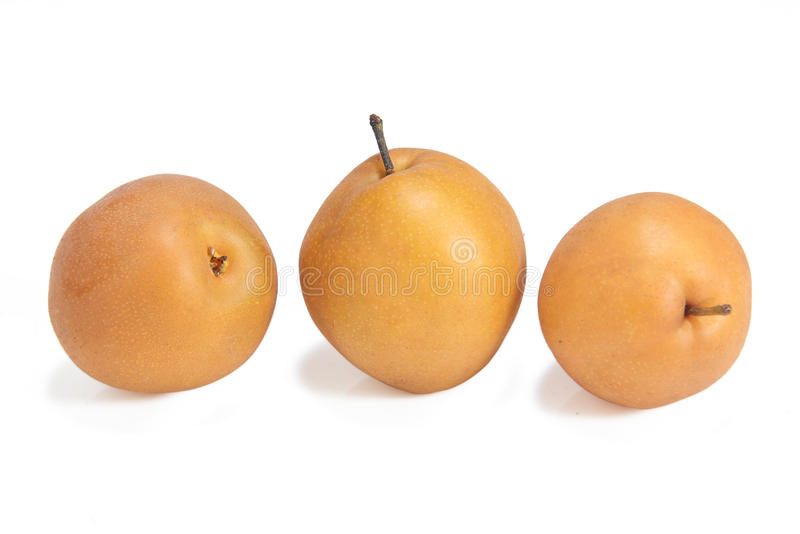 Asian pear fruits or pyrus pyrifolia. On white background stock image