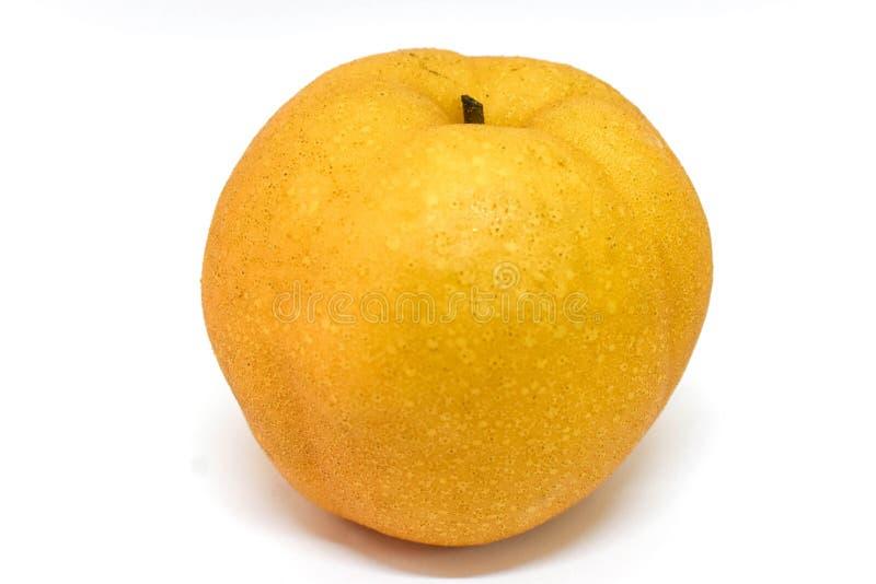 Asian pear on white background stock photos