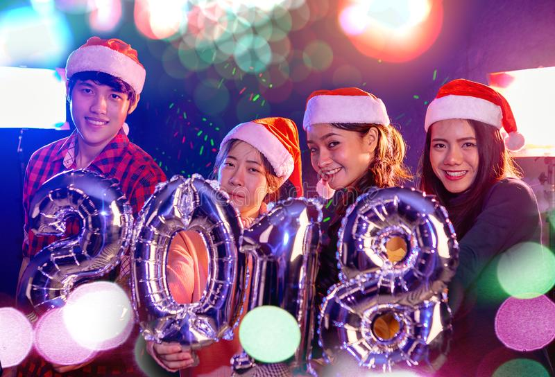 Asian people in Christmas Party royalty free stock image