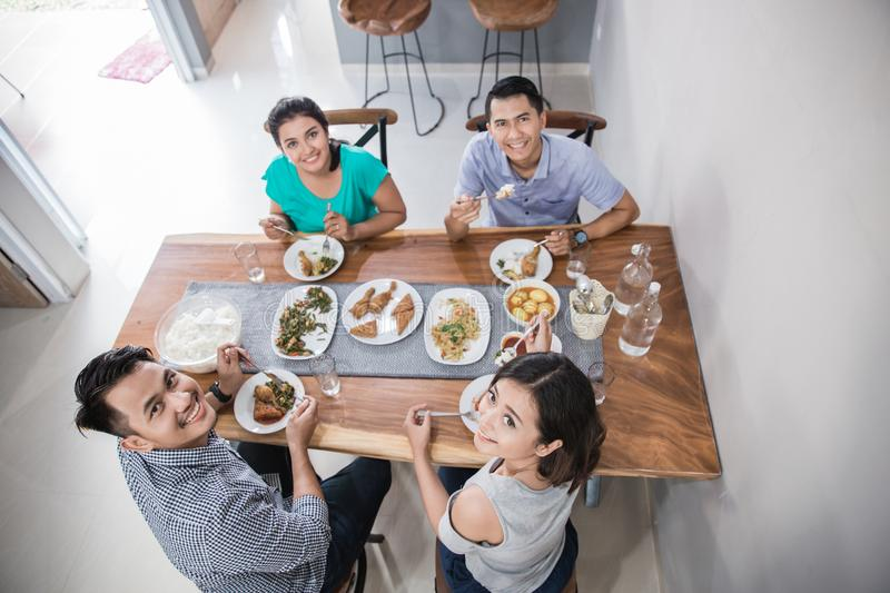 Asian people having lunch stock photo