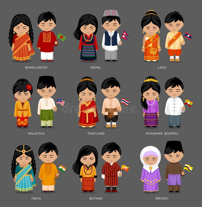 Asian people in national dress. royalty free stock images