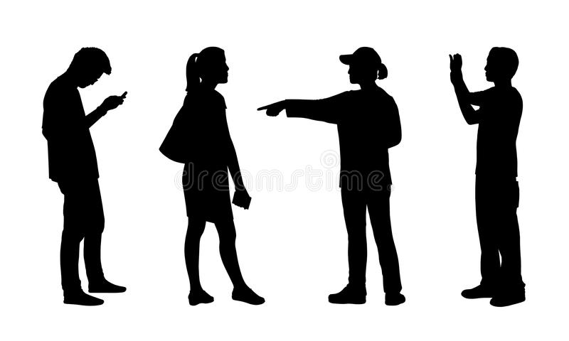 Asian people standing outdoor silhouettes set 5 stock illustration