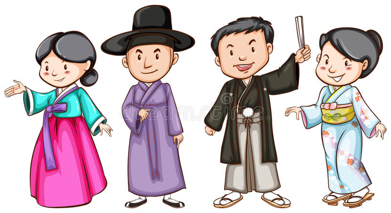 Asian people royalty free illustration