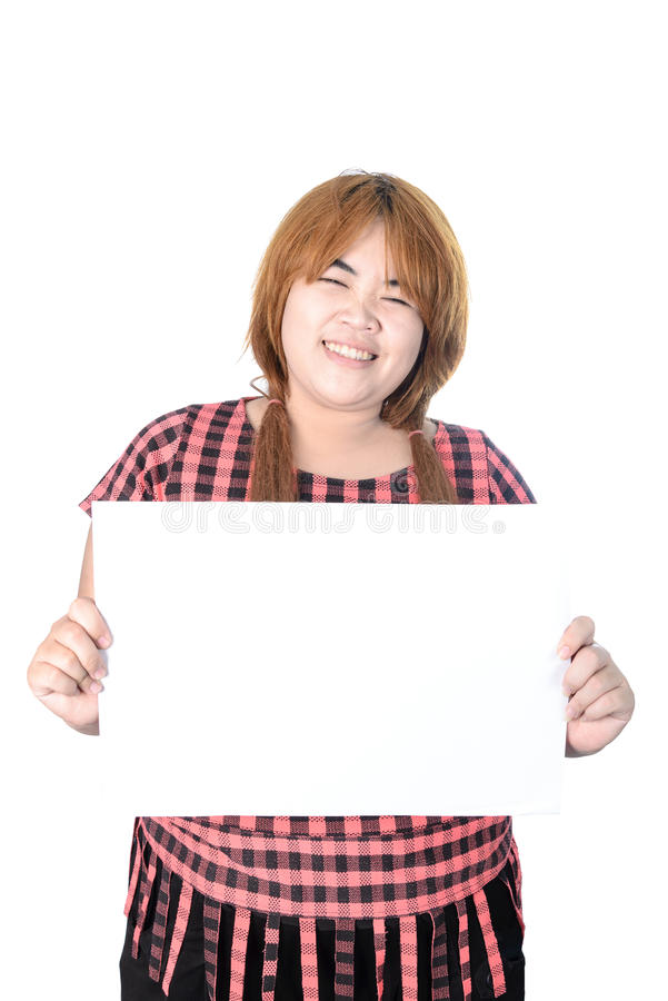 Asian plump woman standing with empty horizontal blank paper in royalty free stock photo