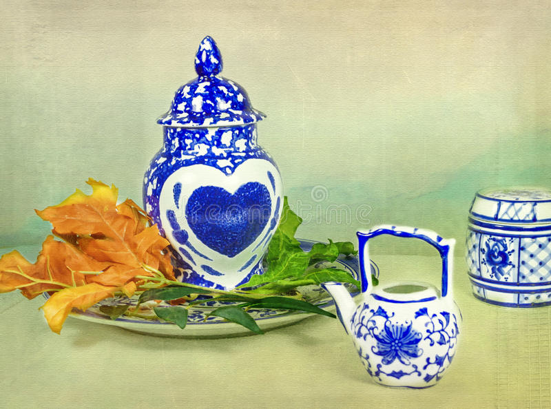 Asian Porcelain with Heart stock photos