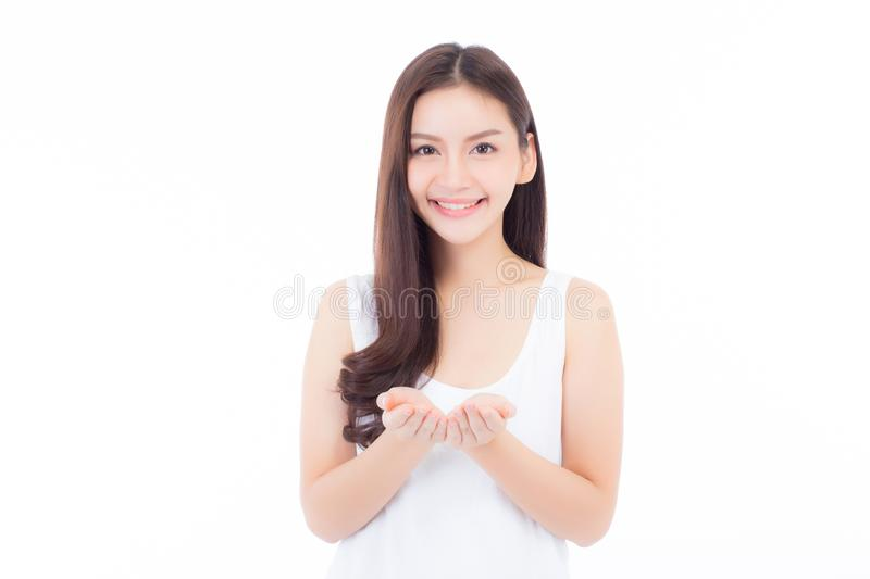 Asian of portrait beautiful young woman showing with healthy clean skin presenting something empty copy space. On the hand isolated on white background, beauty stock photos