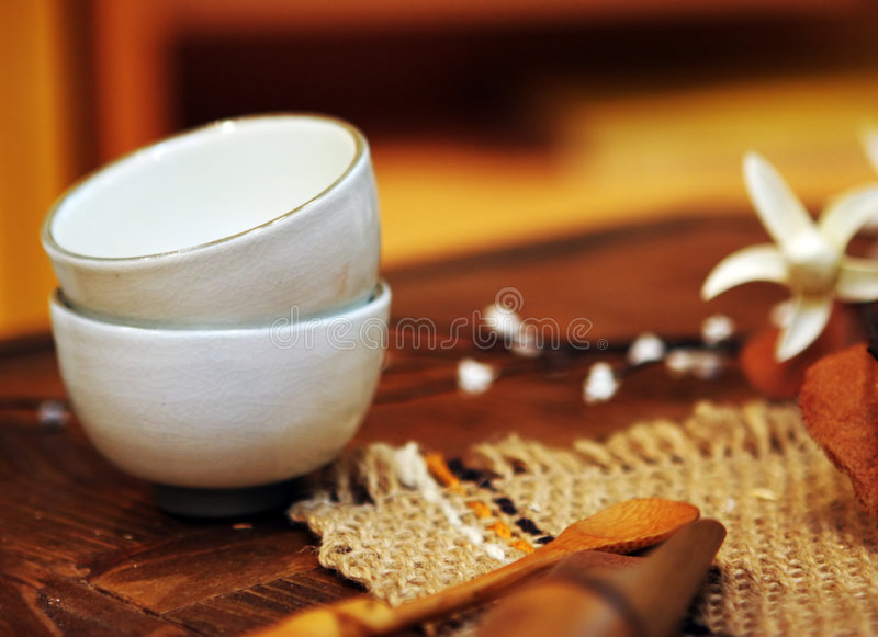 Asian pottery cups royalty free stock image