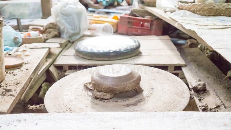 Asian pottery studio. Pottery studio in Pakkred. Thailand stock photo