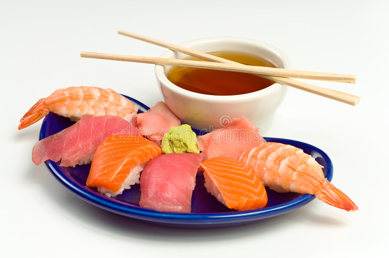 Asian Raw Fish Sushi Dinner w/ Shrimp Tuna Salmon. Asian Raw Fish Sushi Dinner w/ Shrimp, Tuna, Salmon, including rice, ginger, wasabi and soup stock photos