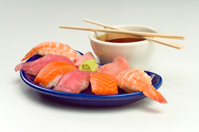 Asian Raw Fish Sushi Dinner w/ Shrimp Tuna Salmon. Asian Raw Fish Sushi Dinner w/ Shrimp, Tuna, Salmon, including rice, ginger, wasabi and soup stock photography