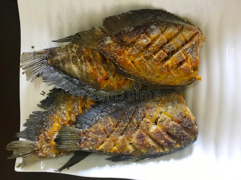 Asian recipe- Homemade fried fish - healthy seafood concept. Asian recopie, Homemade fried fish, healthy seafood concept royalty free stock images