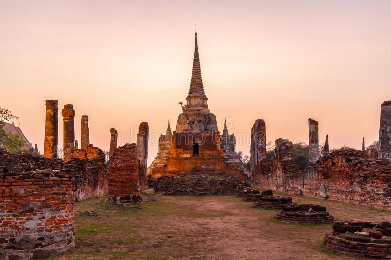 Asian religious architecture, Ancient pagoda at Wat Phra Sri Sanphet Temple under twilight sky, Ayutthaya Province stock images