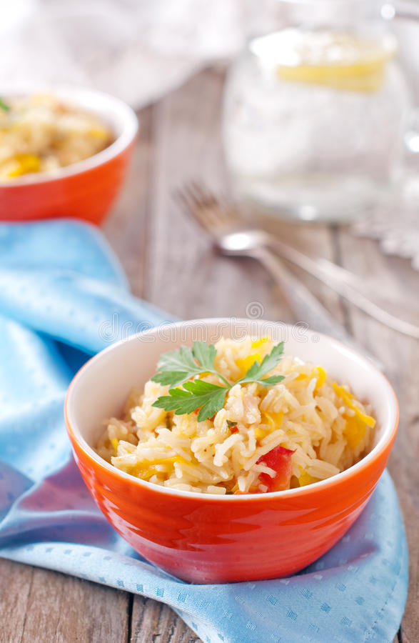Asian rice basmati. With vegetable, selective focus stock photos
