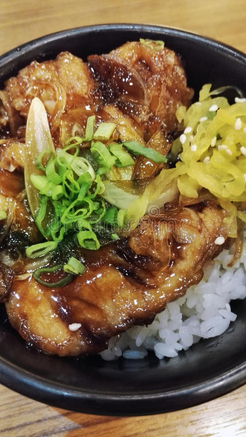 Asian Rice with Teriyaki Chicken royalty free stock photography
