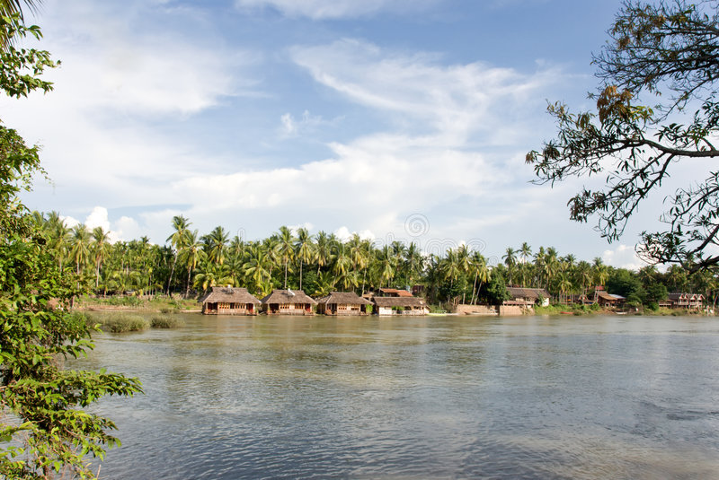 Asian river village stock photography