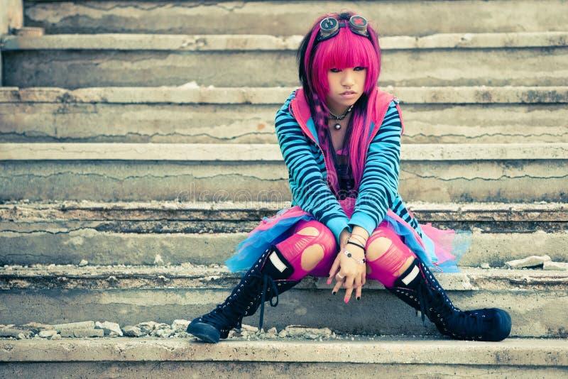 Asian sad lolita. Young asian sad girl with cosplay looking stock images