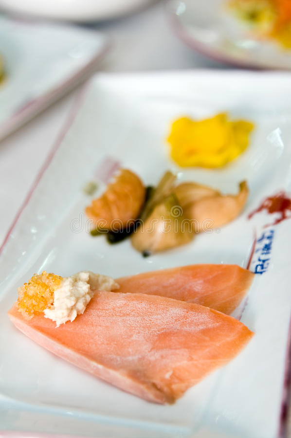 Download Asian salmon slices stock image. Image of slice, setting - 15489245