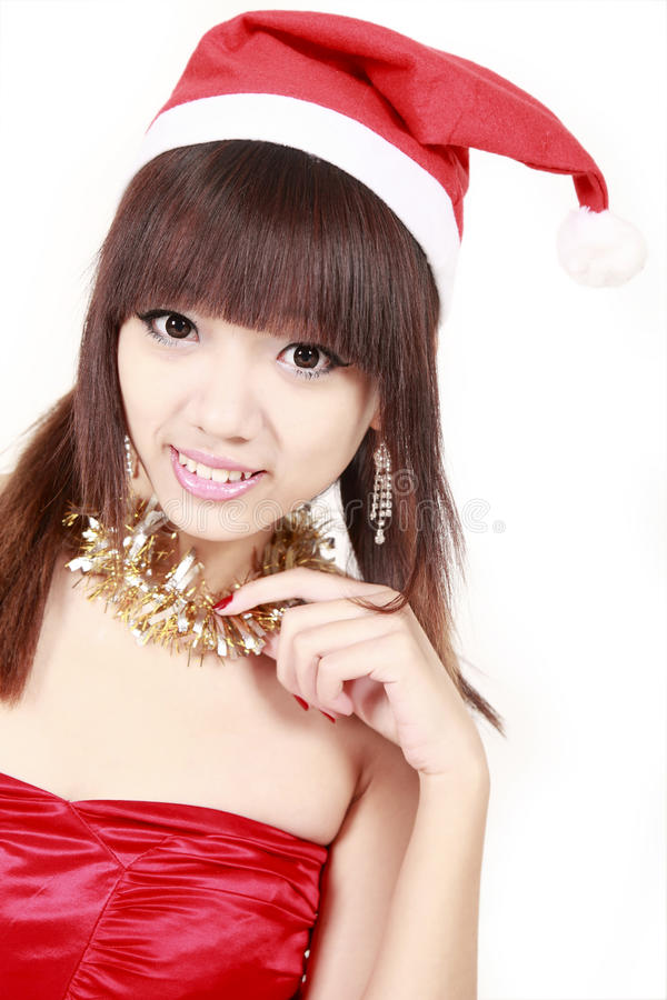 Download Asian santa girl. stock photo. Image of pretty, teen - 12129020