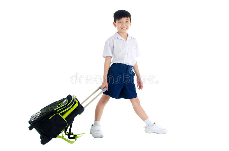 Asian school kid. Asian primary school kid with schoolbag stock images