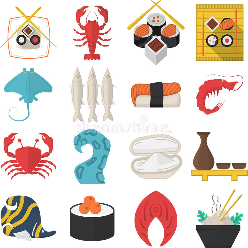 Asian seafood flat color icons stock illustration