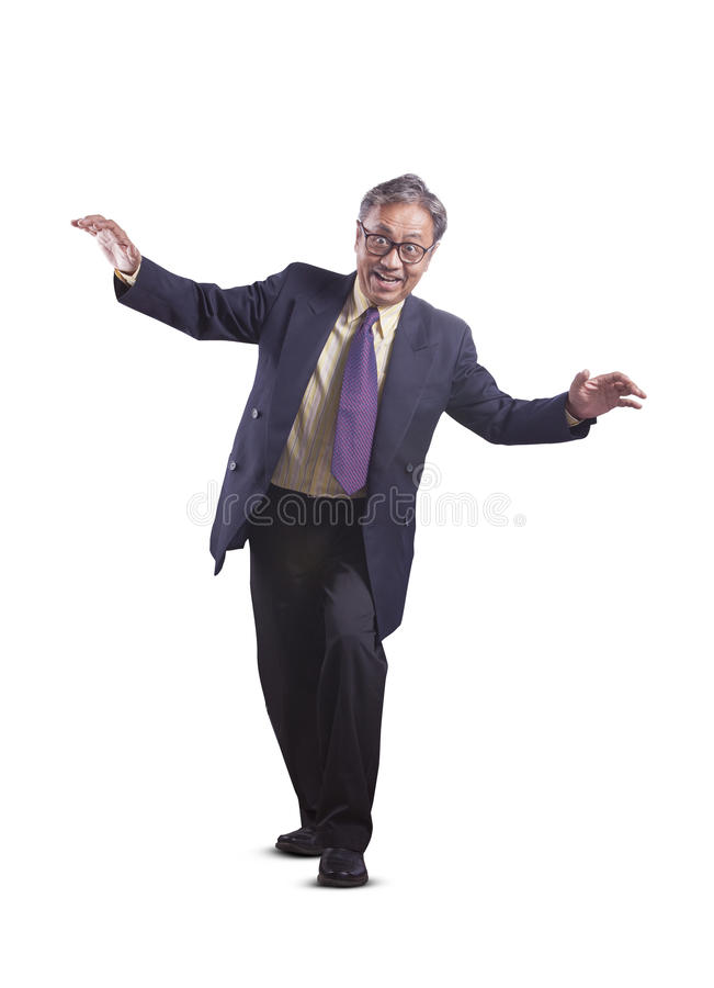 Asian senior business man playing like a ghost funny emotion iso stock photos