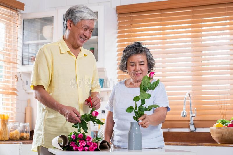 Asian Senior couple husband and wife flower arrangement to vase on table in kitchen at home in Valentine`s Day.lovely senior. Couple concept royalty free stock photo