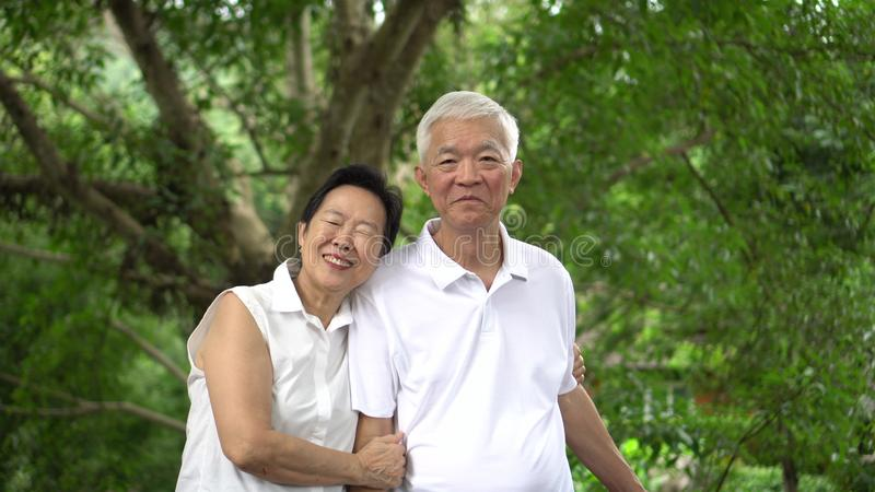 Asian senior couple smiling happy green tree background royalty free stock photos