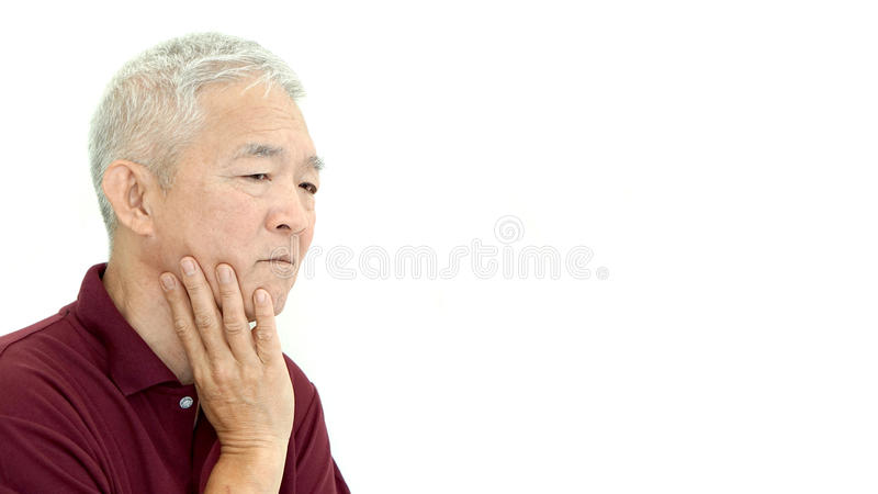 Asian senior man thinking unhappy copy space royalty free stock images