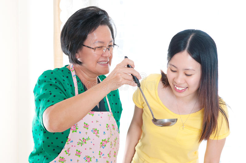 Asian senior woman and daughter royalty free stock photo