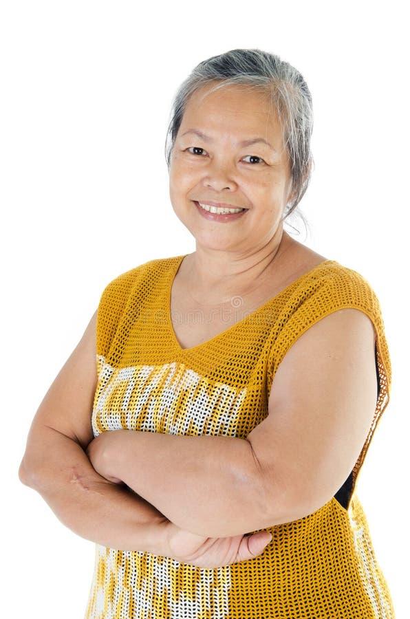Asian senior woman. Portrait of Asian senior smile woman isolate on white background stock photography