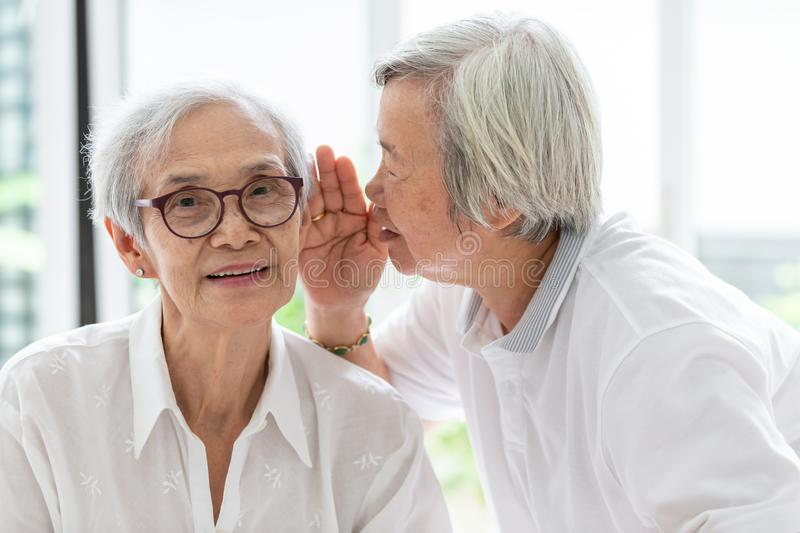 Asian senior woman holding hand near mouth telling funny,gossips on ears to friend,speaking in elderly woman ear and near face, stock photo