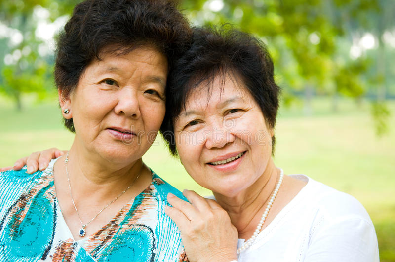 Asian senior women stock photos