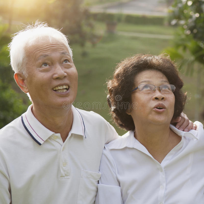 Asian seniors couple looking up. Portrait of healthy Asian seniors retiree couple looking up at outdoor nature park, morning beautiful sunlight background royalty free stock photography
