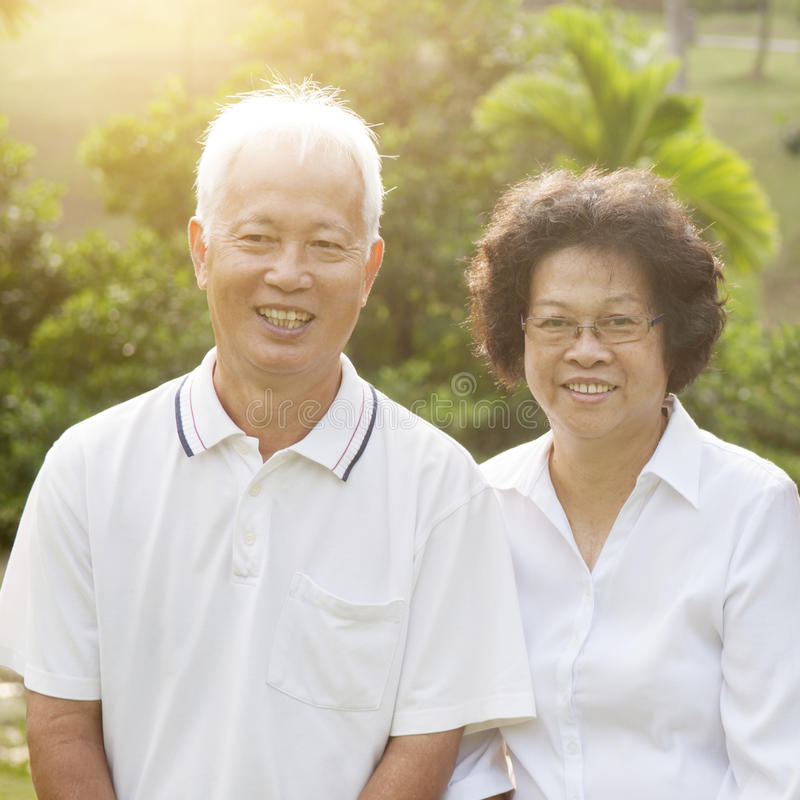 Asian seniors couple royalty free stock images