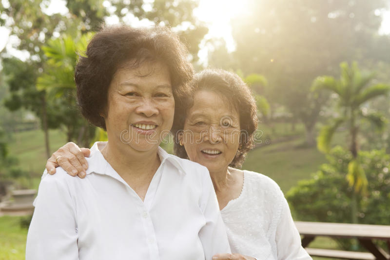 Asian seniors family having good time royalty free stock photos